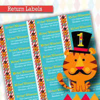 Personalized Circus Return Address Labels |  Fisher Price 1st Birthday Circus/Carnival Birthday Party Decorations, Printable, DIY