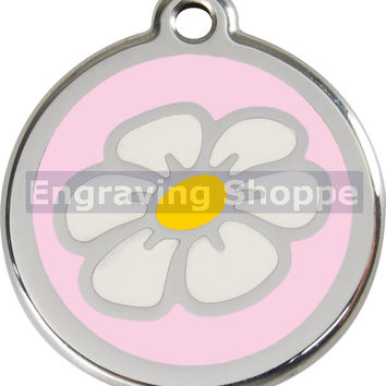 Pink Daisy Enamel and Stainless Steel Personalized Custom Pet Tag with LIFETIME GUARANTEE ID Tag Dog Tags and Cat Tags Free Engraving