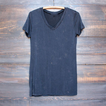 not so basic womens vintage acid wash v neck tshirt in navy