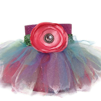 Purple Glitter Koozie with Pastel Rainbow Tutu, Emerald Green Ribbon and a Pink Flower Accent