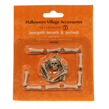 Dept 56 Accessories Boneyard Wreath And Garland Village Halloween Accessory
