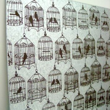 BIRDCAGES  Vintage Brown  Steel Memo/Magnet/Dry by ekohdesign
