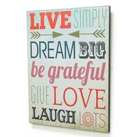 Stratton Home Decor ''Live Simply Dream Big'' Typography Wall Decor