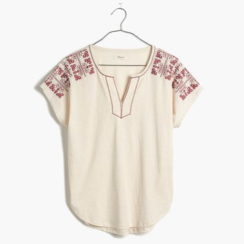 Embroidered Split-Neck Tee