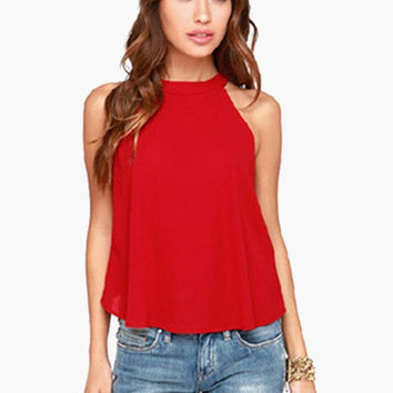 Sleeveless Crop Asymmetrical Studded Racer Back Top