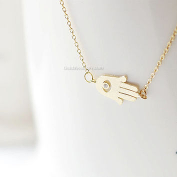 Gold sideways Hamsa Necklace , Tiny Hamsa Necklace, Hand of Fatima Necklace, Evil Eye, Delicate Thin Gold Necklace, layering necklace