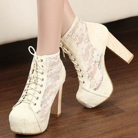 CUTE LACE HOLLOW OUT HIGH HEEL SHOES GIRLS