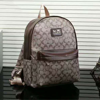 """COACH"" Casual Sport Laptop Bag Shoulder School Bag Backpack Apricot-Coffee G-LLBPFSH"