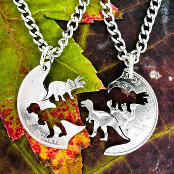 Dinosaur Jewelry, Kids Necklaces, Friendship set, T-rex and Triceratops Hand Cut on a Quarter