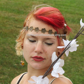 Bohemian Head Chain, Body Jewelry, Woodland Wedding, Renaissance Crown, Rustic Flower Crown, Boho Bridal Crown, Rustic Wedding Crown, Floral