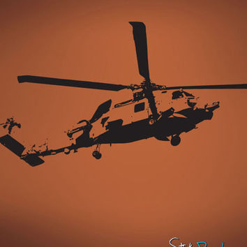 Vinyl Wall Decal Sticker Military Helicopter #582