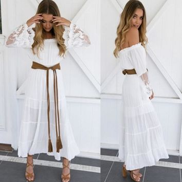 Fashion sexy white long sleeve lace flower off shoulder belt knot long dress