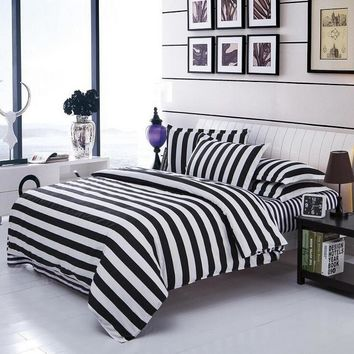 White & Black Stripe Duvet Cover Set Bedding Quilt Cover Pillowcases Set Twin/Full/Queen/King Size 3pcs
