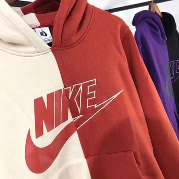 nike fashion beige and red splicing pullover sweater sweatshirt hoodie