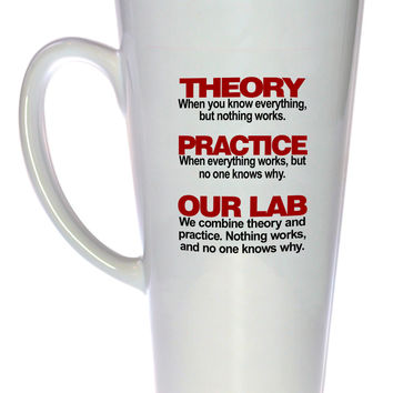 Theory and Practice Coffee or Tea Mug - 17oz Tall Latte Size