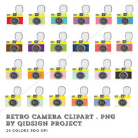 BUY2GET1FREE- 24 Retro Camera Clipart, .PNG 300 DPI, Camera, Clipart, Planner, Instant Download, Commercial Use