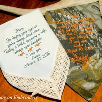 Camo Wedding, Embroidered Wedding Hankerchiefs, Camo, Mom & Dad Wedding Gifts, Camouflage, Camo, Wedding, Wedding Gift, By Canyon Embroidery