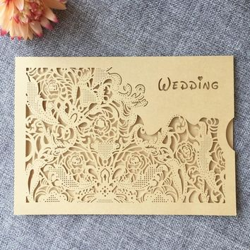 Unique Design Laser Cut Wedding Invitation Card
