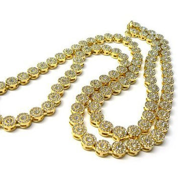 Goldtone Iced Out 33 Inch Sunflower Cluster Chain Necklace