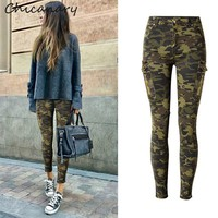 Chicanary Cargo Pockets Camo Print Women Skinny Jeans Military Camouflage Stretch Denim Pants