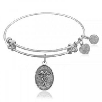 ac NOVQ2A Expandable Bangle in White Tone Brass with Caduceus Staff Of Life Symbol