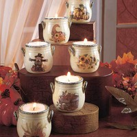 Set of 6 Holiday Tea Light Crocks Splatterware Pattern Fall Themed