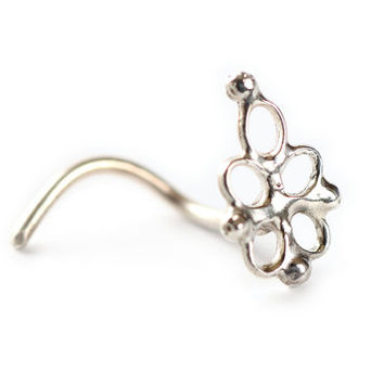 Gipsy silver nose stud - 925 sterling silver - Hand made silver Nose Ring- indian nose stud - studs - tragus jewelry