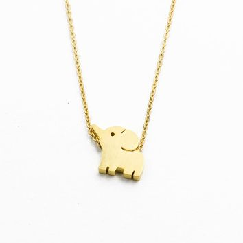 Lucky Amulet Thai Elephant Necklaces Pendants For Women Jewelry Stainless Steel Rose Gold Ketting Animal Choker Best Friend Gift