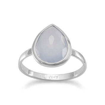 Large Freeform Faceted Blue Chalcedony Pear Shape Stackable Ring in Sterling Silver