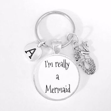 Gift For Her I'm Really A Mermaid Initial Beach Ocean Nautical Gift Keychain