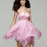 Short Deep V-neckline with Ruffles Knee Length Homecoming Dress PD1882