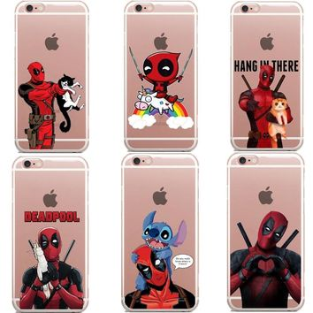 Hot Selling Deadpool and Harley Quinn Super Cool Marvel Hero Soft Clear Phone Case For iphone 6 6s Plus 5 5s SE 8 8Plus 7 7Plus