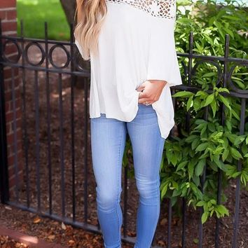 White Patchwork Lace Cut Out Off Shoulder Half Sleeve Blouse