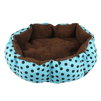 2016 Soft Fleece Pet Dog Nest Bed Puppy Cat Warm Bed House Plush Cozy Nest Mat Pad Dot 4 Colors Freeshipping Smile