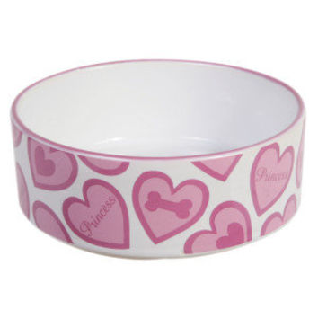 Top Paw™ Ceramic Heart Princess Dog Bowl
