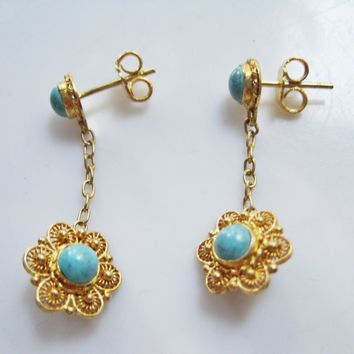 Vintage Chinese Gold Gilt Silver and Turquoise Post Earrings