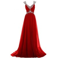 Fashion Plaza A-line Chiffon Crystal Formal Evening Dress D0267 (US4, Navy Blue)