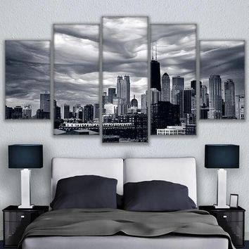 Modular Picture Painting 5 Panel Chicago Skyline Building Modern Printing Type Poster Canvas Painting HD Print Home Decor