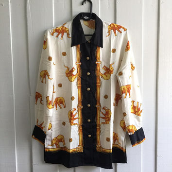 One size /Stunning vintage scarf print baroque shirt ,ladies 's Over sized blouse/white in background with gold elephant printed