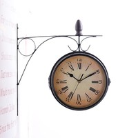 Vintage Double Side Iron Wall Clock