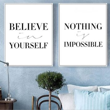 Nordic Black and white English inspirational alphabet Poster Life Quote Canva Print Minimalist Wall Art Painting Decorative Pict