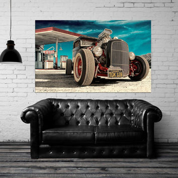 "Canvas Print Artwork Stretched Gallery Wrapped Wall Art Painting Modern Hot Rod Muscule Car American USA Large Size 28x45"" (can6)"