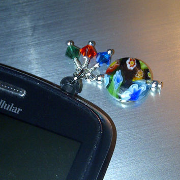 Colorful Crystals Cell Phone Dust Plug Charm