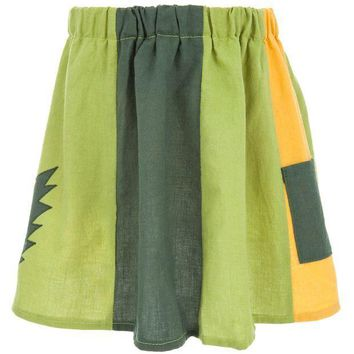 PEAPGQ9 Grateful Dead - Lightning Bolt Green Juvy Panel Skirt