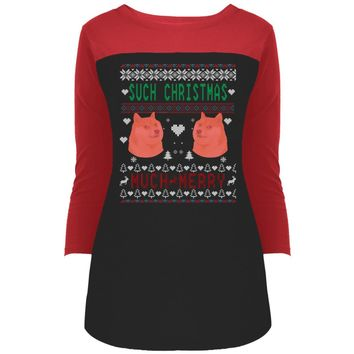 Doge Such Christmas Much Merry DT2700 District Juniors' Rally 3/4 Sleeve T-Shirt