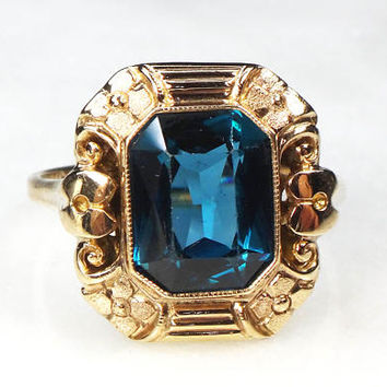 Retro Blue Stone Ring Retro 10k Gold Ring Blue Spinel Orange Blossom Ring September Birthstone Ring 1940 Size 7.25