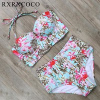 RXRXCOCO Sexy Floral Printed Summer Beach Bathing Suit Push Up Swimsuit Women Swimwear Bikini Set High Waist Beachwear 2017
