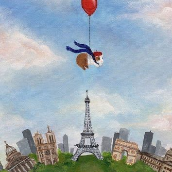 Guinea Pig Over Paris Print by WhenGuineaPigsFly on Etsy