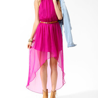 Shirred High-Low Dress