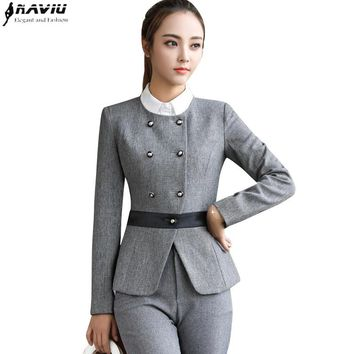 Winter fashion business women pants suits formal long sleeve Double slim Breasted blazer and trousers office ladies work wear